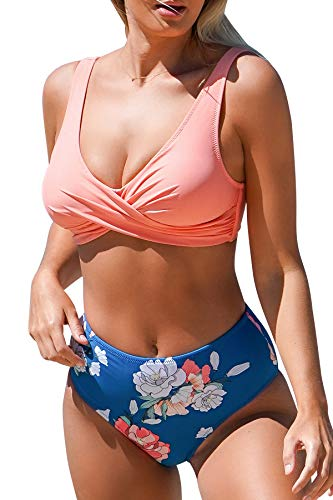 CUPSHE Women's High Waist Bikini Swimsuit Floral Print Lace Up Two Piece Bathing Suit, XXL