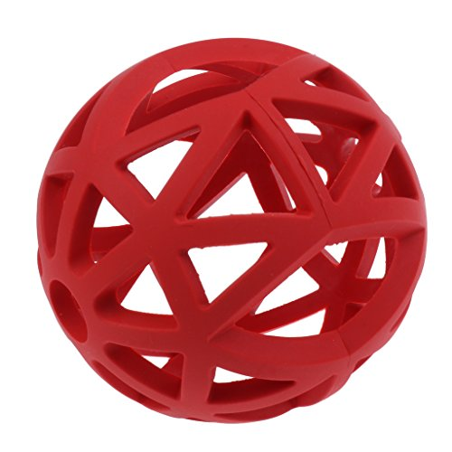 MagiDeal Gitterball Vollgummi flexibel Hundespielzeug Ball Kauspielzeug Gummi Ball für Hund Katze Welpen - Rot - S