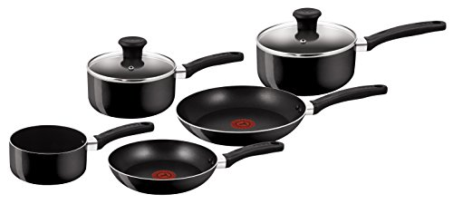 Tefal Delight B020S544 Color Negro, Thermo-Spot, Acero Inoxidable, Batería de Cocina de 5 Piezas