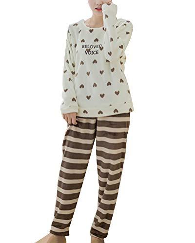 ORANDESIGNE Pijamas de Franela para Damas de otoño e Invierno Engrosamiento de Pijamas caseros Pijamas más Suaves para Mujeres Pijamas con Pijamas de Manga Larga Blanco Corazón ES 36