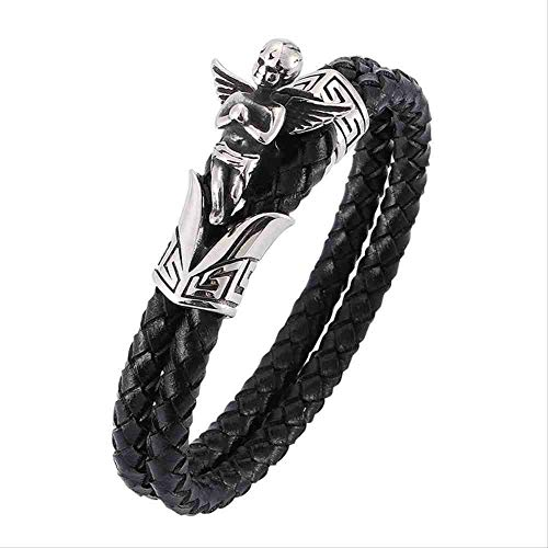 JYHW Men Jewelry Punk Black Double Layer Gevlechten lederen armband voor mannen Roestvrij stalen Angel Male Wrist Band Bangles Wearing Length 165mm Silver Color Buckle, Silver Color Buckle