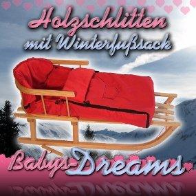 Babys-Dreams–* combinado del paquete * trineo de madera con respaldo + cuerda + Saco de pie de invierno...