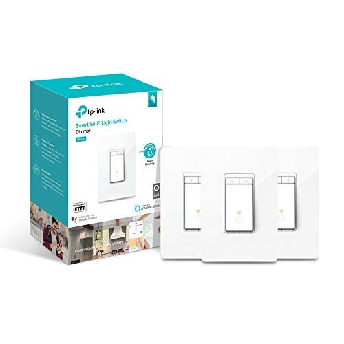 TP-LINK HS220P3 Kasa Smart WiFi Light Switch (3-Pack), Dimmer by TP-Link - Dim Lighting from Anywhere, Easy In-Wall Installation (Single-Pol Only), Compatible with Alexa and Google Assistant, White