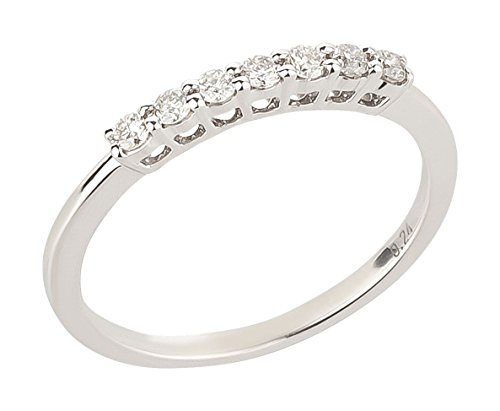 Ardeo Aurum Damenring aus 375 Gold Weißgold mit 0,24 ct Diamant Brillant Halb-Memory-Ring Eternity Verlobungsring