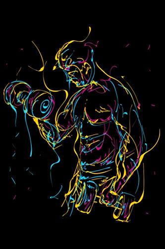 Abstrakt Kurzhantel Curls für Muskel Sport Kraftsport: DIN A5 Liniert 120 Seiten / 60 Blätter Notizbuch Notizheft Notiz-Block Fitness Gym Workout Training Fitnessstudio Motive