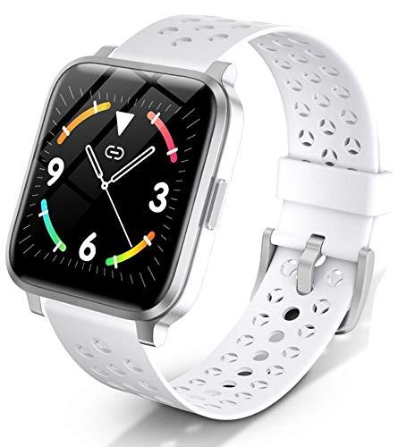 XWZ Relojes Inteligentes Pulsera Inteligente IP68 Impermeable Batería De Larga Duración Rechazar Llamada Rastreador De Ejercicios Mujer Hombre Deportes Reloj Inteligente,Blanco