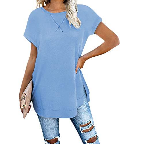 x8jdieu3 Summer Solid Color Pendeln Collage Stitching Rundhals Kapuze Loose Loose Schulter T-Shirt vorne und hinten Split Top Frauen