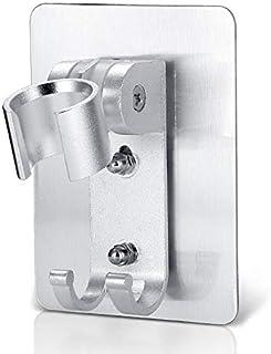 Adjustable shower head holder wall mount bracket with 2 hanger Hooks, Aluminum,Super Heavy Duty, strong adhesive for Bathr...