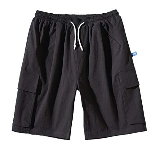 Great Features Of Men's Cotton Casual Jogger Shorts | Loose Straight Slim Fit Elastic Waist Drawstri...