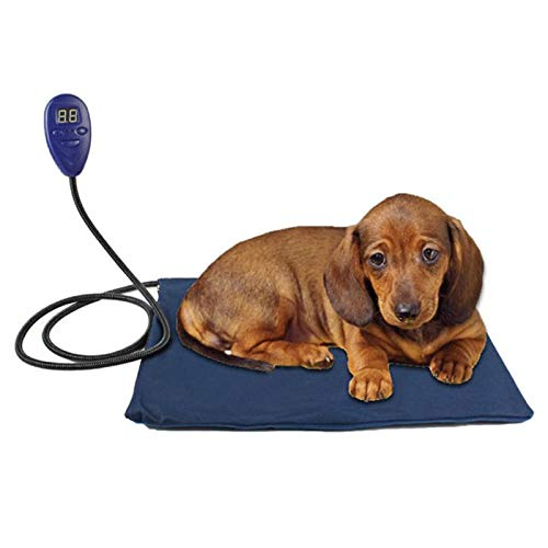 QWET Manta EléCtrica para Mascotas, Impermeable Y AntiarañAzos Cama para Mascotas con De 7 Velocidades, Tubo Fijo Antimordidas Que Puede Soportar Una PresióN De 30 Kg,19.6 * 19.6in