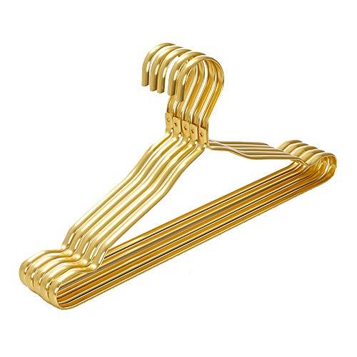AZXAZ - Grucce appendiabiti in metallo, 5 pezzi, in lega di alluminio, per camicia e pantaloni, per casa, bar, hotel (oro)