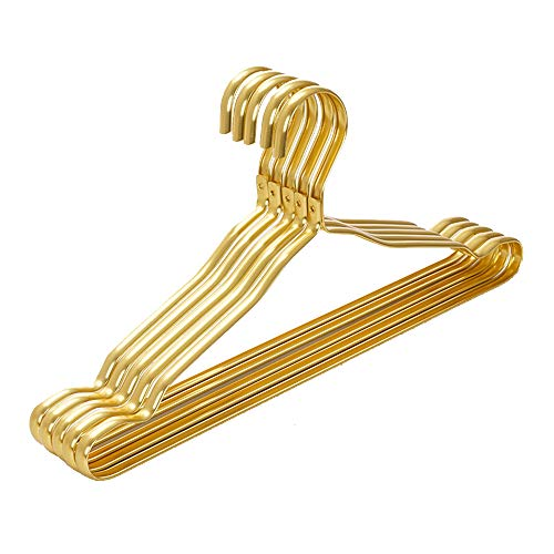 Wankd Goldene kleiderbügel, Kleiderbügel Gold, Kleiderbügel aus Aluminiumlegierung, 5 Stück, stilvoll verchromt, rostbeständig, platzsparend, 41.3 * 1.2 * 20.5CM