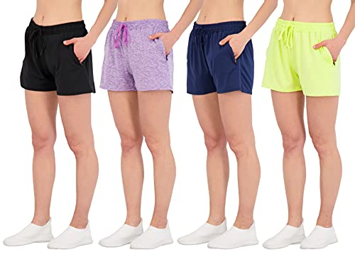4 Pack: Women's Ladies Active Athletic Performance Quick Dry Fit Shorts Tennis Casual Workout 4' Inseam Summer Clothes Lounge Basketball Yoga Jogging Sweat Zipper Running Fitness Training,Set 6,M