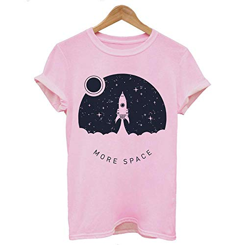T-Shirt Femme Tshirt Cosmic Belief Summer Tops T Shirt Femmes Vintage Streetwear Vegan T-Shirt XXL 1339-Rose