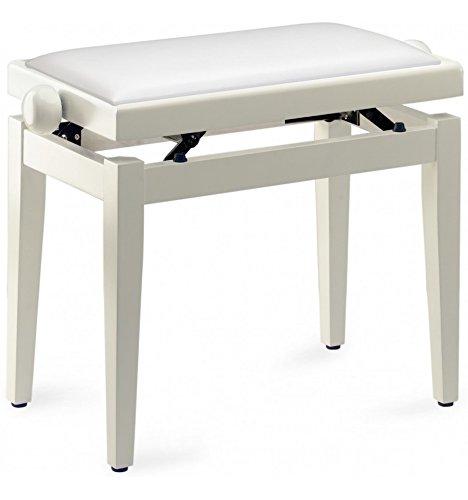 Stagg PB05 – zitbank Piano wit glanzend, met bol van witte Skai