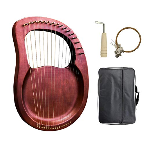 Lyre Harp, 16 Metal String Mahogany Plywood Body String Instrument with Tuning Wrench and Carry Bag