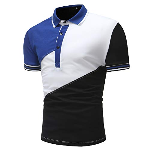 Shirt Hombre Básico Empalme A Rayas Elásticas Hombre Polo Verano Tapeta con Botones Contraste Color Hombre Shirt Ocio Golf Deporte Al Aire Libre Negocio Manga Corta Hombre T-Shirt B-Black L
