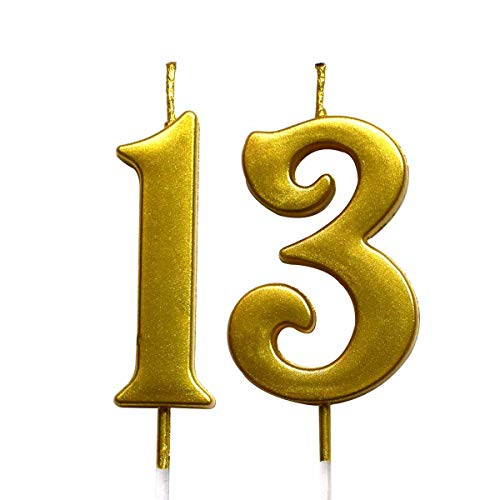 Gold 13th Birthday Numeral Candle, Number 13 Cake Topper Candles Party Decoration for Girl Or Boy