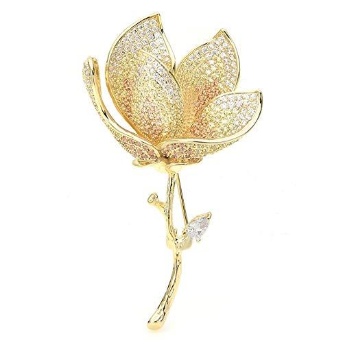 Broche de flor de loto con diamantes de imitación para mujer