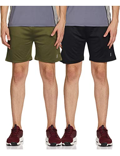 Amazon Brand - Symactive Men Shorts Regular Polyester (SYSP-06 PO2_Green1_Small)
