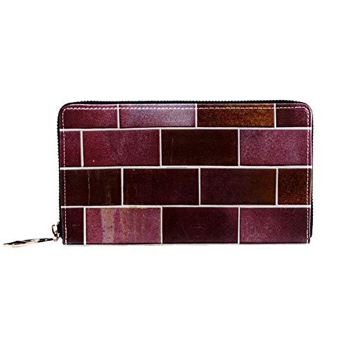 Damen Geldbörse mit Reißverschluss und Handy, Clutch, Reisetasche, Kartenhalter, Organizer, Handgelenke, Fassade, Klinker, Fliesen-Hintergrund