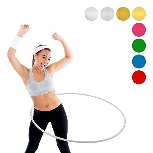 NiroSport Hula Hoop Fitnessreifen für Kinder und Erwachsene, bruchsicheres Aluminium, 90 cm Durchmesser, 360 Gewicht (Aluminium, Farblos)