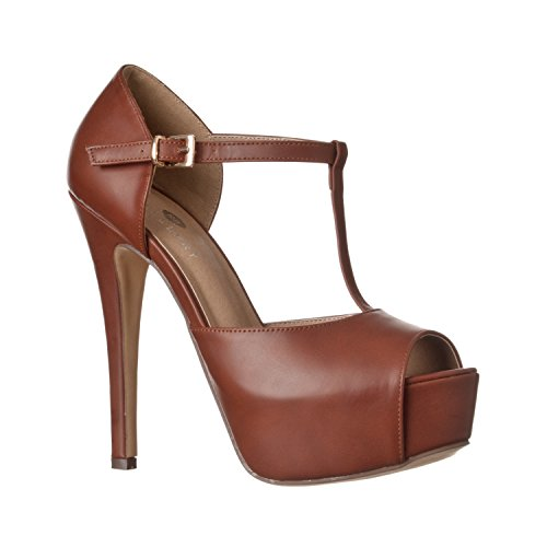 Riverberry Women's Abby Peep Toe Platform T-Strap High Heel Pump, Brown PU, 6 Brown Peep Toe Pump