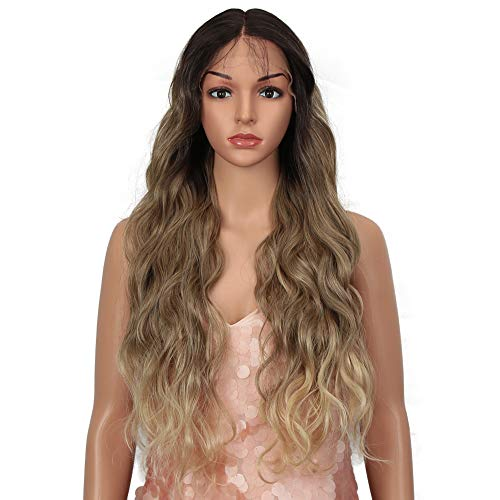 """Style Icon 28"""" Lace Front Wigs Body Wave Middle Part Wig Ombre Blonde Synthetic Wig (28 Inches, SOP22613)"""