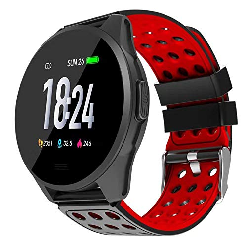 Hoteon 1.3 inch Color Screen Fitness Watch, IP67 Waterproof Smart Activity Tracker with Heart Rate Monitor,BP,Pedometer,Calorie Counter,Sleep Monitor, SMS/SNS Alert (Red)