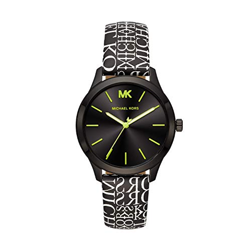Michael Kors Women's Runway Stainless Steel Quartz Watch with Leather Strap, Multi, 18 (Model: MK2847)