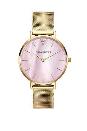 Paul Valentine Damenuhr - Gold Pink Seashell Mesh - Armbanduhr mit Perlmutt Ziffernblatt in rosa, kratzfestes Glas und Mesh-Armband, Uhr für Damen Gold (32mm)