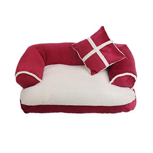 KunLS Deluxe Haustierbett Katzensofa Hundesofa Hundebetten Komfortabel Luxus Hundebett Warmes Haustiernest Rechteck Katzenkissen Rose red