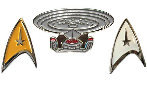 Star Trek USS Enterprise Starfleet Spaceship & Insignia Shields Enamel Badge Set