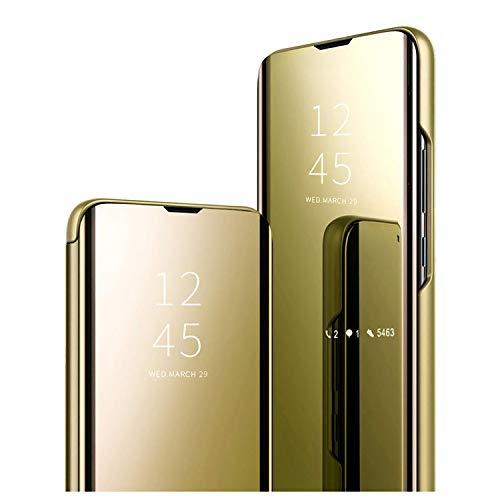 GOGME Funda para OnePlus 9 5G, Mirror Funda Inteligente, PU/PC Flip Cover Case Espejo Enchapado Window View Protectora Carcasa con Soporte Plegable. Oro