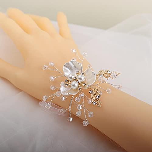 SONGK Pulsera de Concha de Moda Novia Dama de Honor Flor de muñeca Perla Blanca Flor de Mano Celebración de Bodas Regalo Joyería