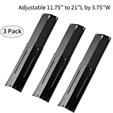 Outspark Universal Replacement Heavy Duty Adjustable Porcelain Steel Heat Plate Shield,Heat Tent,Flavorizer Bar,Burner Cover,Flame Tamer for Gas Grill, Extends from 11.75' up to 21' L (3-Pack)