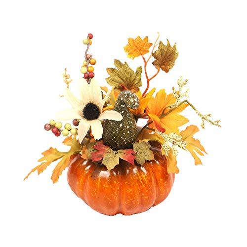 Valcatch Künstliche Kürbisverzierung Fall Ahornblatt Tannenzapfen Beeren Set Dekor Kürbis Requisiten für Herbst Halloween Home Party Dekor