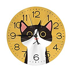 N/W Cute Cat with Big Eyes Wall Clock 10 Round,- Battery Operated Wall Clock Clocks for Home Decor Living Room Kitchen Bedroom Office