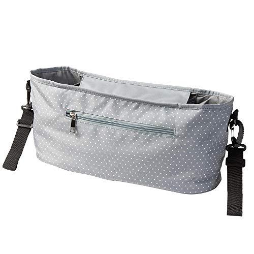 Kinderwagen Buggy Organizer mit Mini Punkten grau (Farbe & Motiv wählbar) I praktische Kinderwagentasche zum Anhängen