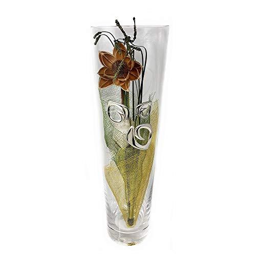 Florero cristal motivo plata Ley 925m. flores artificiales [AB9428]
