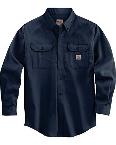 Carhartt Men's Flame Resistant Lightweight Twill Shirt,Dark Navy,Large