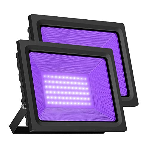 LED Black Light, Gianor 80W LED Flood Light Bulb Outdoor, IP66 Waterproof Disco Blacklights for Fishing/Aquarium/Curing, Body Paint, Fluorescent Poster, Neon Glow, Stage Lighting(Pack 2)
