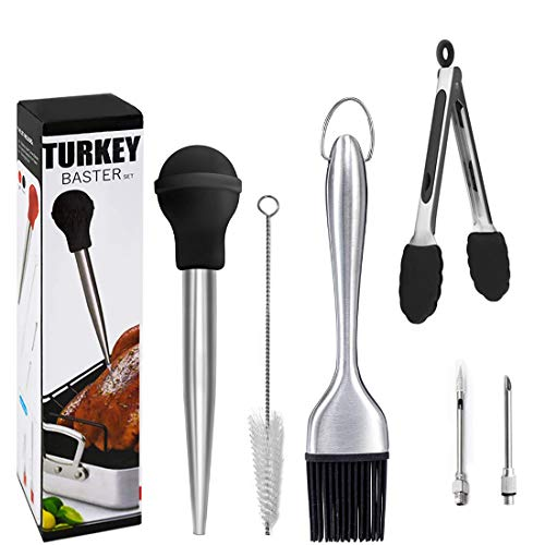 Stainless Steel Turkey Baster, Baster Syringe for Cooking Syringe Meat Baster Turkey Tool Kit including Silicone Cooking Tongs, Silicone Oil Brush, 2xTurkey Pump Flavour Injector, Cleaning Brush