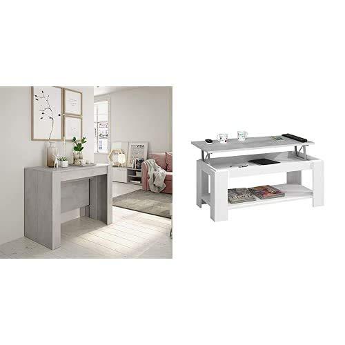 Habitdesign Mesa de Comedor, Consola, Mesa Extensible, Mesa para Salon recibidor o Cocina, Acabado en Gris Cemento + Mesa Centro con revistero