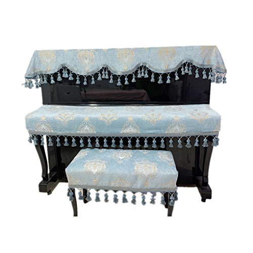 Best Review Of Piano cover Chenille Fabric European-Style Piano Stool Cover Three-Piece Set Fringed ...