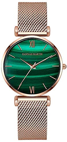 QHG Reloj de Cuarzo para Mujer con gradiente Peacock Green Dial Pantalla analógica con Acero Inoxidable (Color : Green)