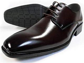 [エスメイク] S-MAKE プレーントゥ ビジネスシューズ ダークブラウン ワイズ3E(EEE) 27.5cm、28cm(28.0cm)、29cm(29.0cm)、30cm(30.0cm)【大きいサイズ(ビッグサイズ) メンズ紳士靴】