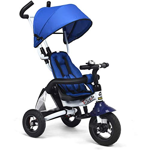 HONEY JOY Baby Tricycle, 6 in 1 Kids Foldable Trike Storller, Toddler Ride On Push Bike with Parent Handle, Detachable Guardrail, Adjustable Canopy, Safety Harness, Shock-Absorbing Wheels, Blue