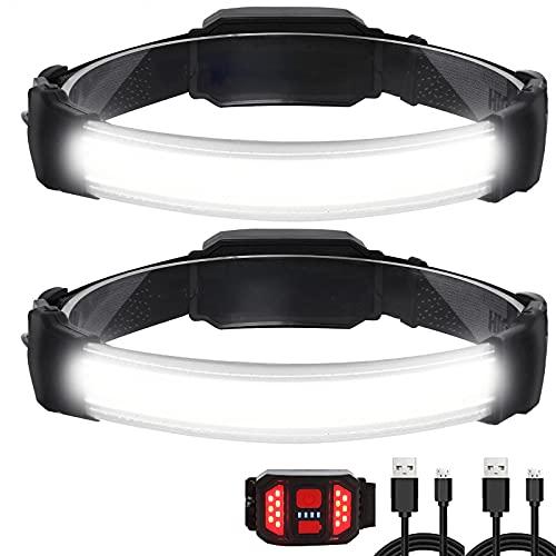 Lampada Frontale,2 Pezzi Di Luce LED Super Luminosa 1500 Lumen USB Ricaricabile,Impermeabile IPX6 e Lampada Posteriore Rosso Lampada Frontale,3 Modalità Regolabile Per Campeggio,Corsa
