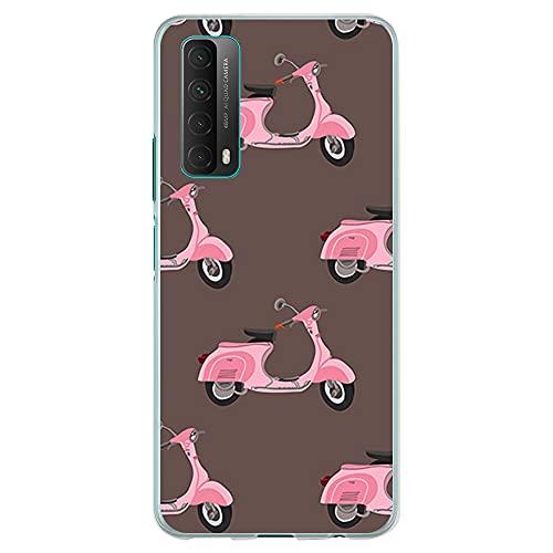 Funda Transparente para [ Huawei P Smart 2021 / Y7A ], Carcasa de Silicona Flexible TPU, diseño: Moto Scooter Vintage Rosa Collage
